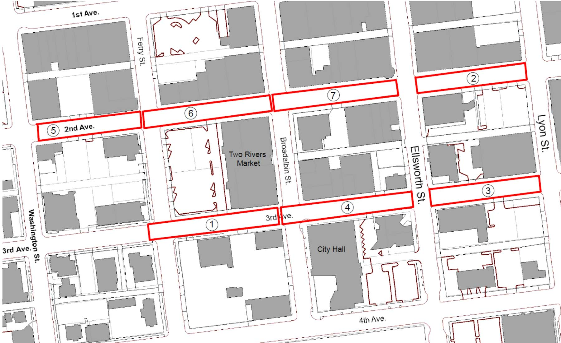 project map downtown pavement restoration